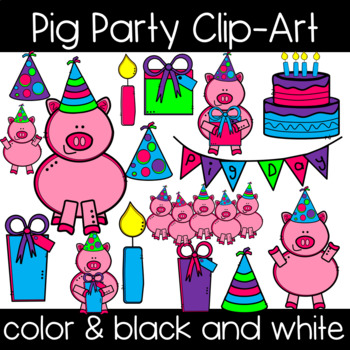 Pig Party Clipart! Birthday Party Clipart!