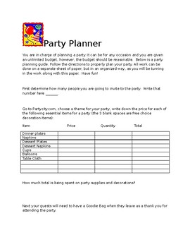 Party Planner Performance Task