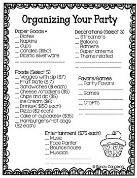PROJECT BASED LEARNING MATH ACTIVITY: PARTY PLANNER With Decimals Grades 3-6