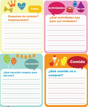 Party Planner Sheet
