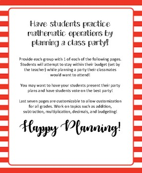 Party Planning Mathematics Activity!