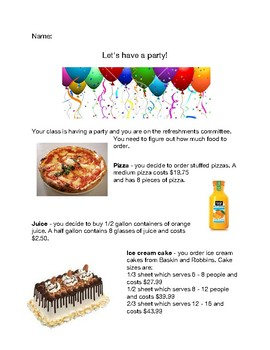 Party Planning for Decimal and Multiplication Practice