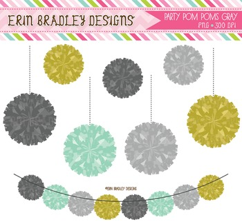 Party Poms Bunting Clipart Graphics