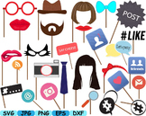 Party Props Photo Booth Prop Emoji clip art svg Glasses Hats Ties Lips -168s