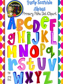 Party Scribble Alphabet {Primary Polka Dots Clip Art}