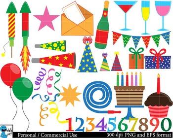Party Set Clipart Digital Clip Art Graphics 164 images cod54