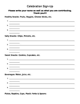Party Sign Up Sheet For Parents