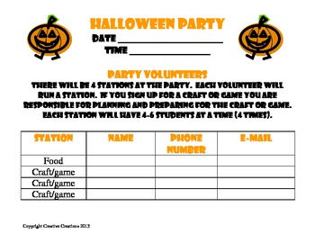 Party Sign-Up Sheets