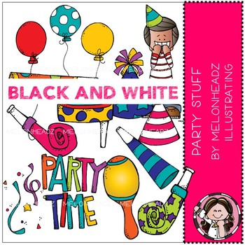 Party Stuff clip art - BLACK AND WHITE - by Melonheadz