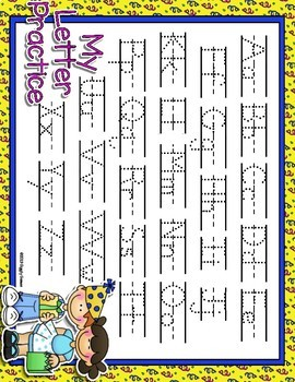 Party Time Dotted Letter with Line Alphabet Practice Mat Dry Erase