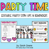 EDITABLE Class Party Sign Ups & Reminders