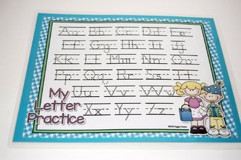 Party Time Gingham Dotted Letter with Line Alphabet Practice Mat Dry Erase