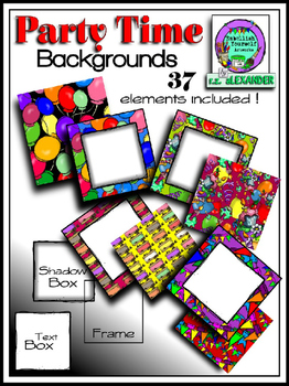 """Party Time"" Square Backgrounds  Kit (Edge Border & Text Boxes Included)"