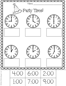 party time telling time to the hour printables freebie tpt. Black Bedroom Furniture Sets. Home Design Ideas