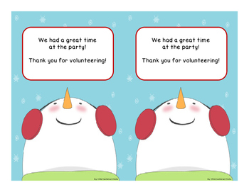 Christmas/Holiday Party Volunteer Thank You Notes