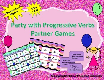 Party With Progressive Verb Tenses Partner Game (Common Core Aligned)