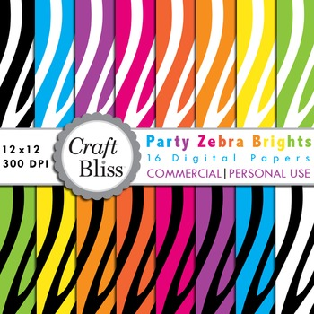 Party Zebra Brights Digital Paper Pack Commercial Use Personal Use Free Papers