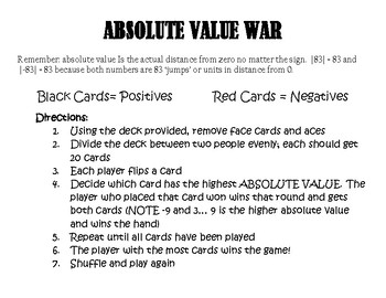 Party and War Absolute Value Game