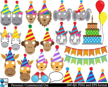 Party animals Props - Clip Art Digital Files Personal Commercial Use cod224