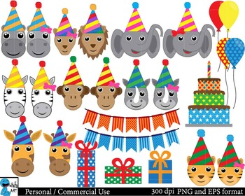 Party animals from safari ClipArt Personal, Commercial Use 51 images cod108