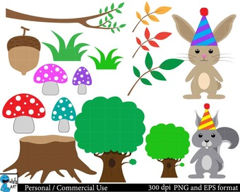 Party animals in forest ClipArt Personal, Commercial Use 82 images cod109