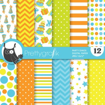 Party dinosaur digital paper, commercial use, scrapbook papers, birthday - PS690