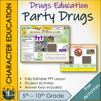 Party drugs. Drugs Education Lesson