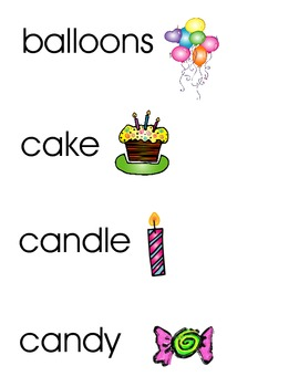 Party/Birthday Word Wall/Vocabulary Cards