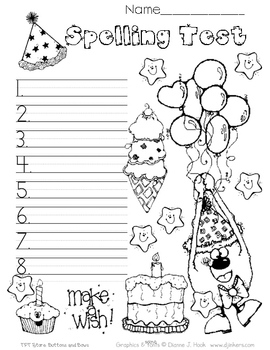 Spelling Test Papers // Party!