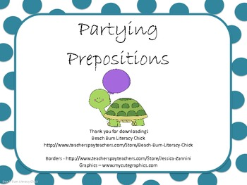 Partying Prepositions - Common Core