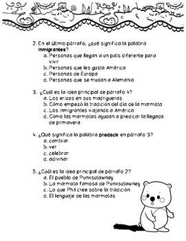 Pasaje en Español del Día de la Marmota
