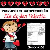 Lectura Pasajes de Comprensión San Valentín Grados K-1 / Valentine's Day Spanish