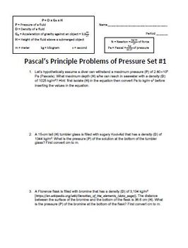 Pascal's Principle Problems of Pressure Set Bundle (Forces in Fluids)
