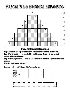 Pascal's Triangle & Binomial Expansion Graphic Organizer