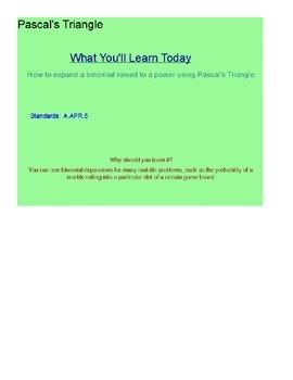 Pascal's Triangle SmartBoard Lesson
