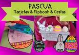 Pascua Tarjetas, booklet y cestas en Español Easter Craftivity Spanish Flipbook