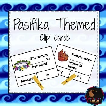 Pasifika themed cloze clip cards