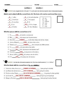 Paso a Paso 1 Ch 3 Grammar Quiz (ir, estar, ir a infinitive, con)