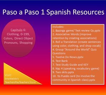 Paso a Paso 1 Ch 6 Clothing, 0-199, Colors, Direct Object Pronouns, Shopping