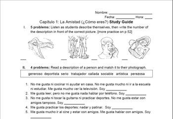 Paso a Paso Ch 1 Study Guide - Me Gusta & Personality