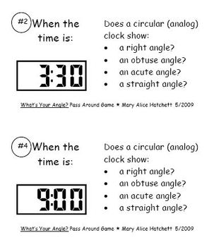 Pass Around - digital to analog time with angle identification