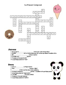Passé Composé Crossword  (French Past Tense)