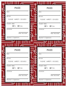 Classroom Pass Slip - Circuit Board Design