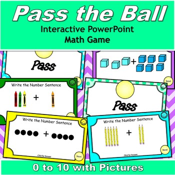 Pass the Ball 0 to 10 Addition with Pictures {5 interactive PowerPoint Games}