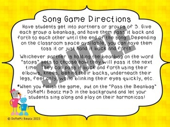 Pass the Beanbag Harmonica Song Game with Backbeat mp3