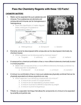 Pass the Chemistry Regents with 120 Facts
