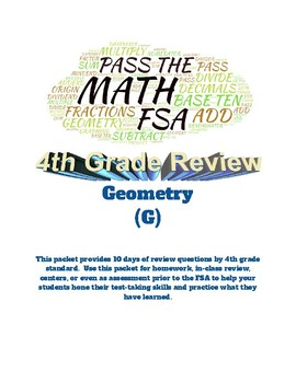 Pass the Math FSA (4th grade): Geometry: 10 days of Review for FSA