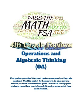 Pass the Math FSA (4th): Operations/ Algebraic Thinking: 10 days of Review