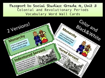 PassPort To Social Studies Grade 4: Unit 3 Vocabulary Word Wall Cards