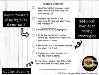 Passage Reader's Checklist Editable